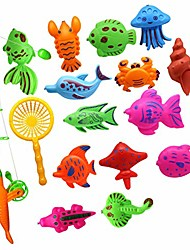 cheap -15pcs puzzle toy magnetic fishing catching bugs set, baby bath fun floating toys fishing game with cute fish and fishing rod yellow