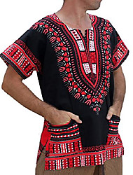 cheap -brand unisex bright african black dashiki cotton shirt, x-small, orange red on black