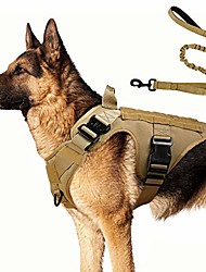 """cheap -tactical dog harness and bungee dog leash set for large medium dogs, molle vest for service & training military dogs adjustable training hunting dog tactical vest, tan, l, chest (31.5-41.3"""")"""