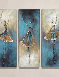 cheap -3 Panels Oil Painting Handmade Hand Painted Wall Art Abstract Figure Portrait Home Decoration Décor Rolled Canvas No Frame Unstretched