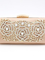 cheap -Women's Bags Polyester Alloy Evening Bag Crystals Flower Solid Color Floral Print Handbags Wedding Event / Party Champagne