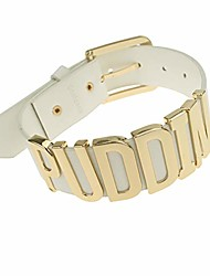 cheap -adjustable fashion high neck white belt letter gold puddin choker necklace collar for women girls adult kids prime (about 1.2 inch width)