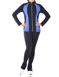 cheap -Figure Skating Jacket with Pants Women's Girls' Ice Skating Pants / Trousers Top Blue Stretchy Training Skating Wear Warm Patchwork Long Sleeve Ice Skating Winter Sports Figure Skating / Kids