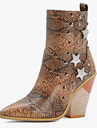 cheap -Women's Boots Block Heel Pointed Toe Casual Daily Rivet Plaid / Check PU Booties / Ankle Boots White / Black / Yellow
