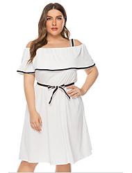 cheap -Women's A-Line Dress Short Mini Dress - Short Sleeve Solid Color Patchwork Fall Off Shoulder Plus Size Casual 2020 White Blue Yellow L XL XXL 3XL 4XL