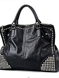 cheap -women top handle shoulder bag personality punk rivet satchel tote purse fashion vintage big bag black