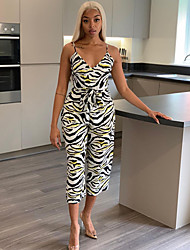 cheap -Women's Ordinary White Jumpsuit Abstract Lace up Print