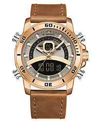 cheap -NAVIFORCE Men's Sport Watch Quartz Modern Style Sporty Outdoor Calendar / date / day Analog - Digital Rose Gold Blue Brown / Two Years / Genuine Leather / Japanese / Chronograph / Dual Time Zones