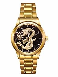 cheap -mens gold dragon quartz business wristwatch stainless steel strap gifts father husband son