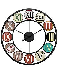 """cheap -Large Decorative Wall Clock, Roman Numeral Hands, Vintage Industrial Rustic Farmhouse Style Modern Home Decor Ideal for Living Room, Analog Wood Metal Clock, 16"""" or 20"""" Round 50cm*50cm"""