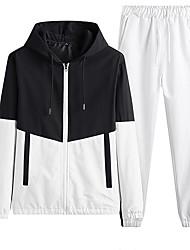 cheap -Men's Color Block Streetwear Spring &  Fall Jacket Regular Daily Long Sleeve Polyster Coat Tops White