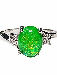 cheap -faux opal rhinestone inlaid wedding engagement finger ring - green us8 women jewelry gift