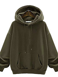 cheap -Women's Hoodie Pure Color Hoodie Solid Color Sport Athleisure Pullover Long Sleeve Warm Soft Oversized Comfortable Plus Size Everyday Use Daily Exercising