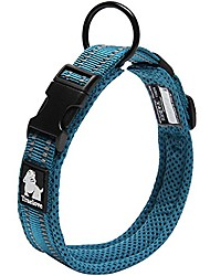 """رخيصةأون -طوق الكلب عاكس مع حلقة شبكة تنفس لينة نايلون قابل للتعديل طوق الحيوانات الأليفة 0.8 """"واسعة ، الأزرق"""