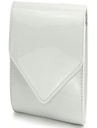 cheap -glossy envelope evening clutch faux patent leather women chain shoulder bag solid color purse (white)
