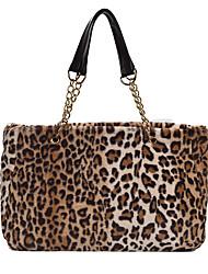 cheap -Women's Bags Faux Fur Top Handle Bag Chain Fur Bag Daily Date Dark Brown Wine Watermelon Red White