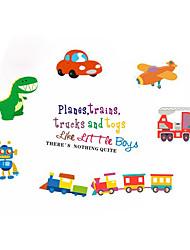 cheap -Color Car Dinosaur Wall Sticker Self Adhesive Little Boys Cartoon Children's Train Wall Decoration Sticker PVC