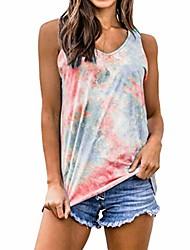 رخيصةأون -التدرج تانك القمم المرأة التعادل صبغ أكمام قميص تانك فضفاض الصيف عارضة تونك تانك الأعلى المحملة سترة الأحمر