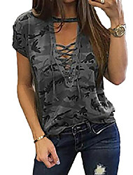 cheap -women& #39;s short sleeves camouflage lace-up casual top sexy hollow lace up shirt & #40;2xl, grey& #41;