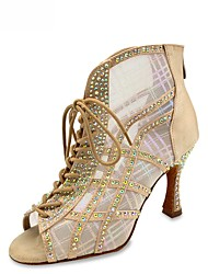 cheap -Women's Latin Shoes Jazz Shoes Modern Shoes Salsa Shoes Boots Crystal / Rhinestone Slim High Heel Peep Toe Black Almond Silver Zipper