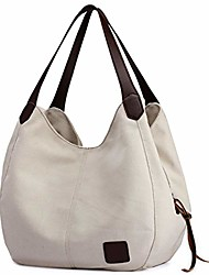 cheap -women's multi-pocket shoulder bag fashion cotton canvas handbag tote purse (gray printing)