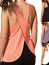 cheap -Women's Yoga Top Cross Back Fashion White Black Purple Pink Fitness Gym Workout Running Tank Top Sport Activewear Lightweight 4 Way Stretch Breathable Comfort Quick Dry High Elasticity Loose
