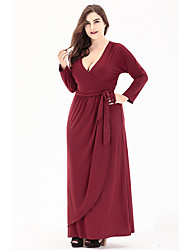 cheap -Women's A-Line Dress Knee Length Dress - Long Sleeve Solid Color Lace Fall V Neck Plus Size Elegant Going out Beach 2020 Black Wine L XL XXL 3XL 4XL 5XL 6XL