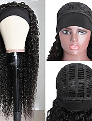 cheap -Synthetic Wig Afro Curly Jerry Curl Middle Part Wig Long Natural Black Synthetic Hair 65 inch Women's Elastic Fashion Middle Part Black / African American Wig