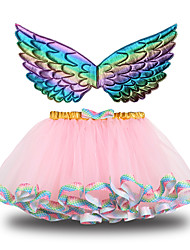 cheap -Princess Skirt Wings Girls' Movie Cosplay Halloween New Year's Purple Pink Green Skirt Wings Christmas Halloween Carnival Polyester / Cotton Polyester