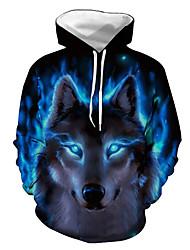 cheap -Men's Plus Size Daily Hoodie Sweatshirt Hoodie 3D Animal Print Hooded Hoodies Sweatshirts  Long Sleeve Blue / Spring / Winter
