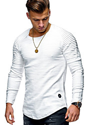 cheap -Men's Daily T-shirt Solid Colored Long Sleeve Tops Cotton Round Neck White Black Army Green
