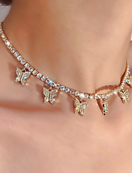 cheap -Women's Choker Necklace Pendant Necklace Classic Butterfly Simple Classic Sweet Fashion Alloy Gold Silver 37 cm Necklace Jewelry 1pc For Party Evening Gift Birthday Party / Charm Necklace