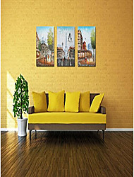 cheap -eiffel tower decor oil paintings hand painted large size canvas decor stretched 3 panels l(colorful) With Stretched Frame