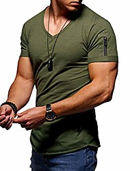 cheap -mens v neck t shirt - solid color short shirts cotton short sleeve big tall shirts army green