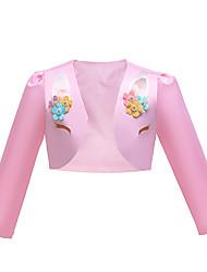 cheap -Kids Girls' Cute Unicorn Jacquard Solid Colored Cartoon Embroidered Print Long Sleeve Asymmetrical Dress White