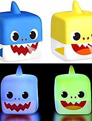cheap -sharks light up bath toys, flashing color in water & spray water rubber floating set for kids babies and toddlers bathtub bathroom shower games swimming pool party (2 piece)