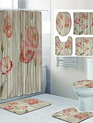 cheap -Fresh Flower Pattern PrintingBathroom Shower Curtain Leisure Toilet Four-Piece Design