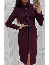 cheap -Women's A-Line Dress Knee Length Dress - Long Sleeve Solid Color Patchwork Winter Shirt Collar Casual 2020 Purple Yellow Green S M L XL XXL