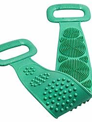 cheap -silicone bath brush, silicone back bath shower wash body belt brush bath towel exfoliating body brush (green)
