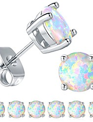 cheap -6 pairs 18k white gold plated 6mm round white opal stud earrings(pack of 6)