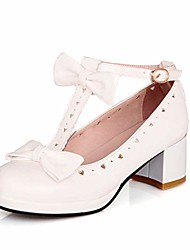 cheap -woman's low heel vintage lolita shoes cute bowknot mary jane shoes white 4