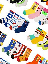 cheap -Kids Athletic Sports Socks 4 Pairs Long Boys' Girls' Crew Socks Tube Socks Breathable Sweat wicking Comfortable Gym Workout Basketball Running Skateboarding Sports Cartoon Cotton Yellow+Orange Baby