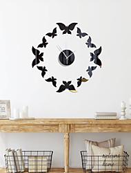 cheap -3D DIY Wall Clock Butterfly Numerals Clock Frameless Mirror Wall Sticker Home Decor for Living Room Bedroom