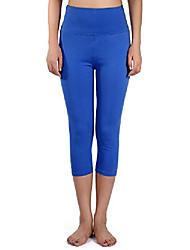 cheap -women cotton capri leggings high waist crop leggings slim fit tights yoga workout running pants, solid color (m size, royal blue)