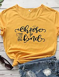 cheap -Women's Be kind T-shirt Heart Letter Print Round Neck Tops 100% Cotton Basic Basic Top White Black Purple