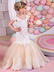 cheap -Princess / Mermaid / Trumpet Sweep / Brush Train Wedding / Party Flower Girl Dresses - Lace / Tulle Cap Sleeve Boat Neck with Appliques / Splicing