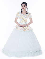 cheap -Maria Antonietta Retro Vintage Rococo Vacation Dress Dress Masquerade Women's Lace Satin Costume White Vintage Cosplay Party Prom Short Sleeve Floor Length Ball Gown Plus Size