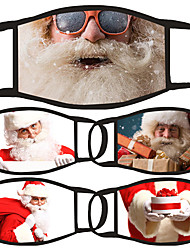 cheap -5 Pcs Face Mask Cover Dust Proof Cotton Red and White Daily Wear Dust Proof Christmas