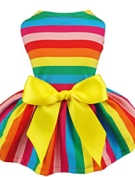 cheap -Dog Cat Dress Rainbow Ribbon bow Casual / Sporty Sweet Casual / Daily Dog Clothes Puppy Clothes Dog Outfits Breathable Rainbow Costume for Girl and Boy Dog Fabric XXS XS S M L
