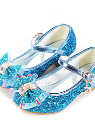 cheap -Girls' Heels Flower Girl Shoes Tiny Heels for Teens Princess Shoes Synthetics Dress Shoes Kids Teenager Daily Party & Evening Bowknot Buckle Blue Pink Gold Fall Spring